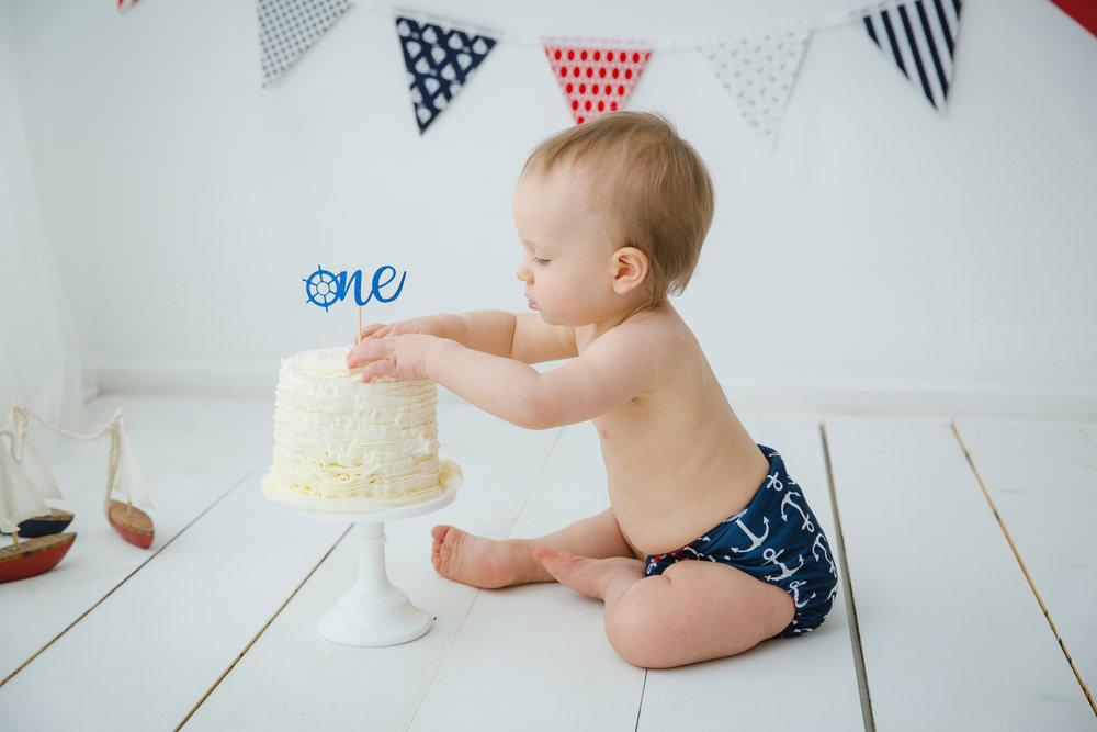 first birthday cake smash nautical themed
