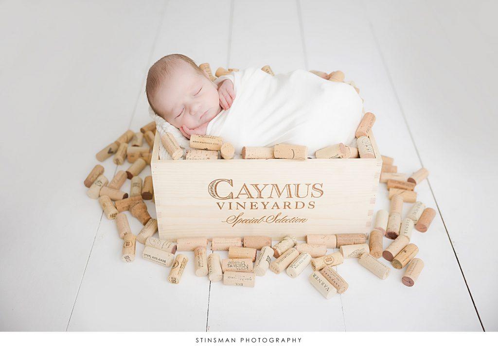 Newborn baby boy sleeping during his wine themed photoshoot.