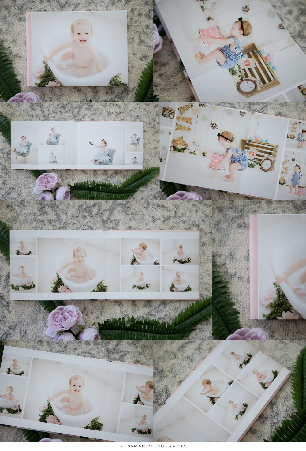 custom album for first birthday photos in south jersey cake smash photography studio