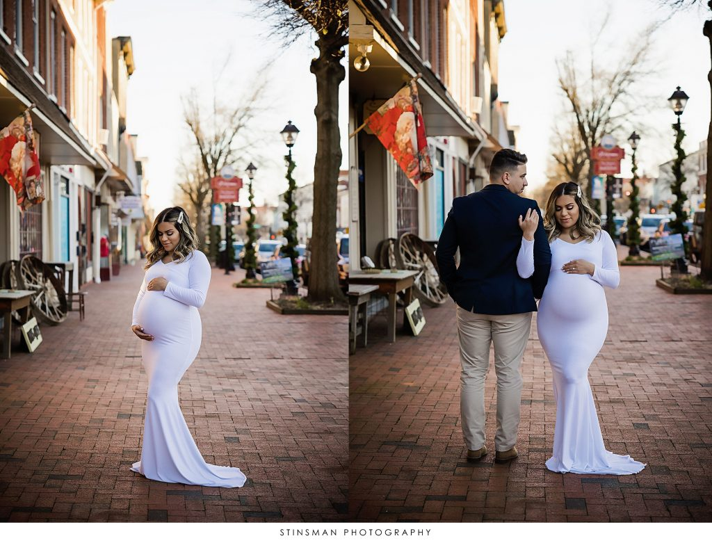 Parents to be in an outdoor location at their maternity photoshoot