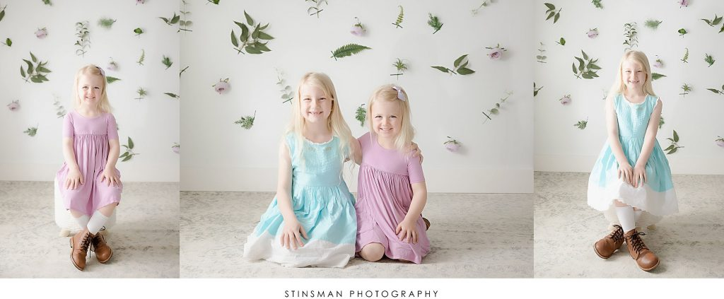 Sisters posed for spring mini photoshoot