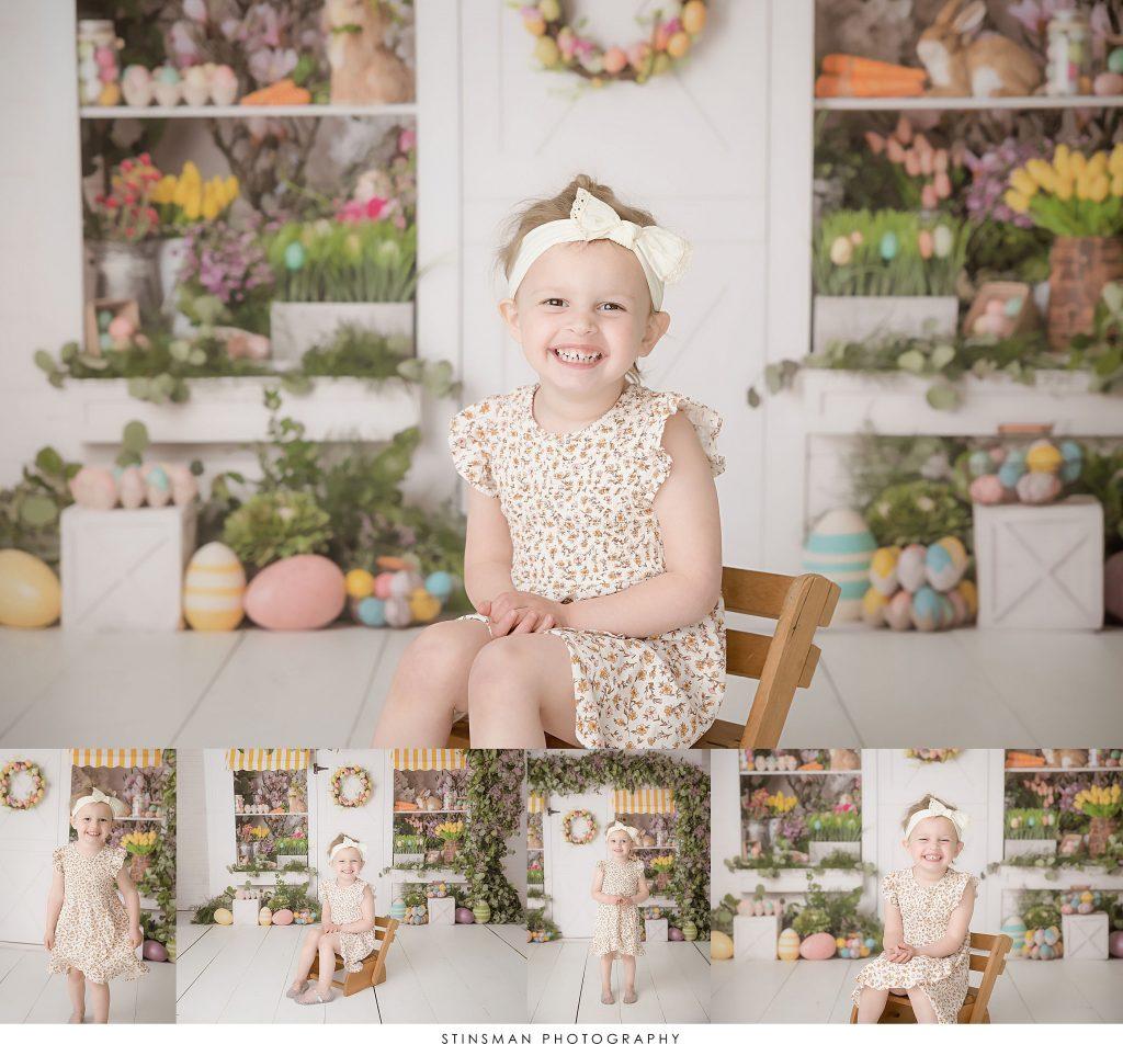 Little girl smiling at her Easter mini photoshoot