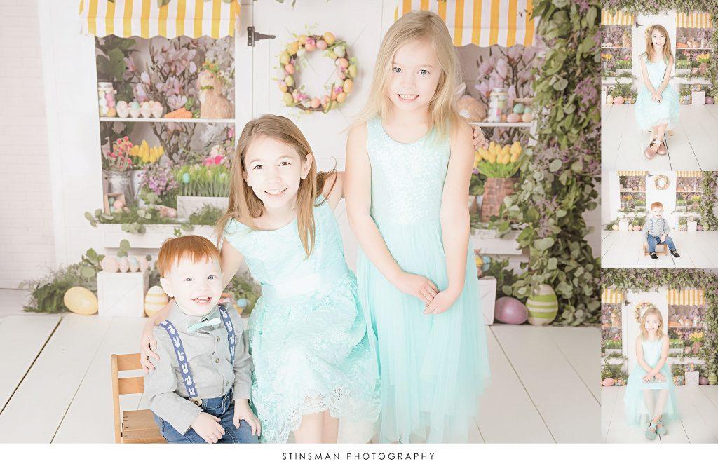 Siblings posing at their Easter mini photoshoot
