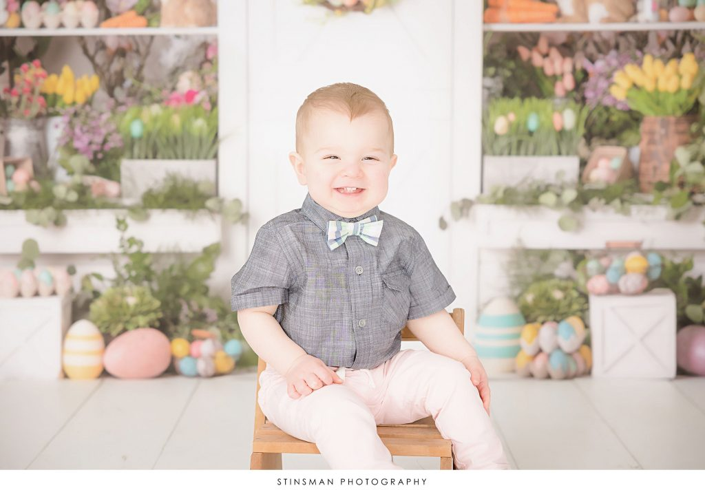 Little boy posing at his Easter mini photoshoot