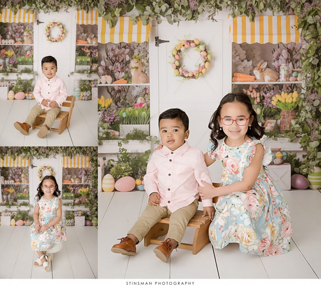 Siblings posed for their Easter mini photoshoot