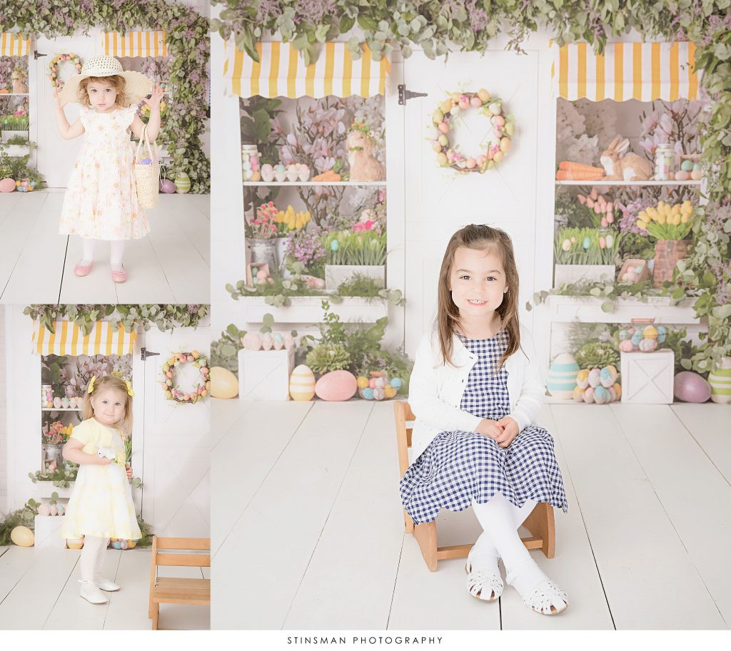 Little girls posing at their Easter mini photoshoots