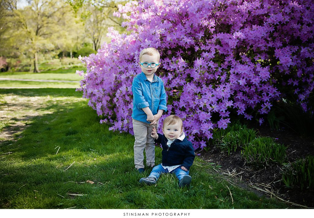 Brothers posing in outdoor family photoshoot