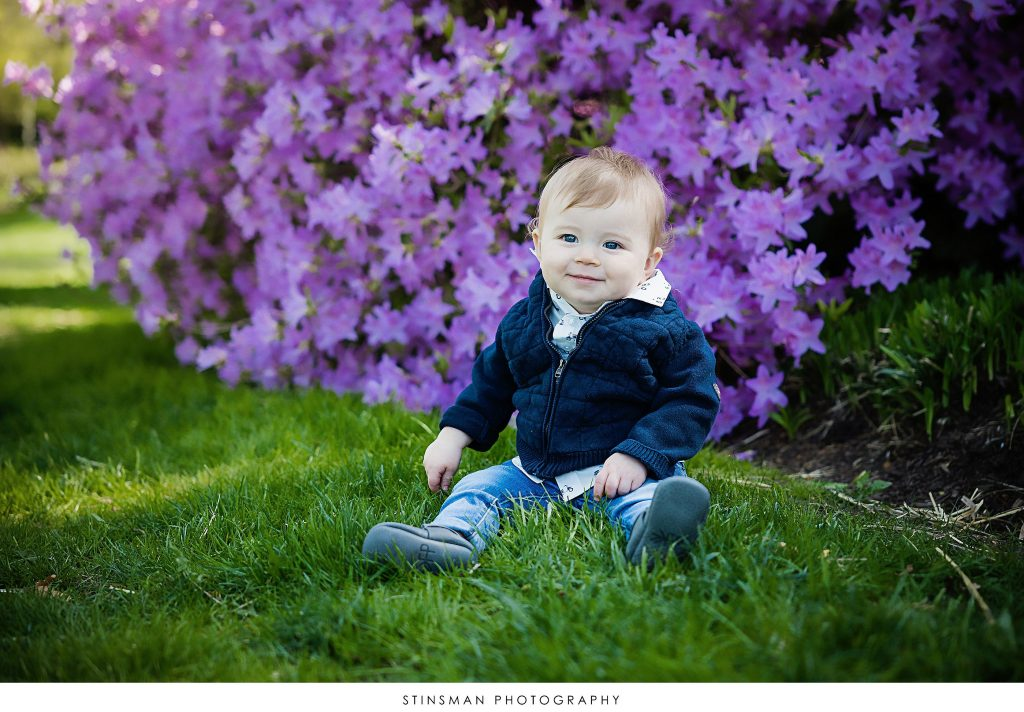 Little boy posing at his family outdoor photoshoot