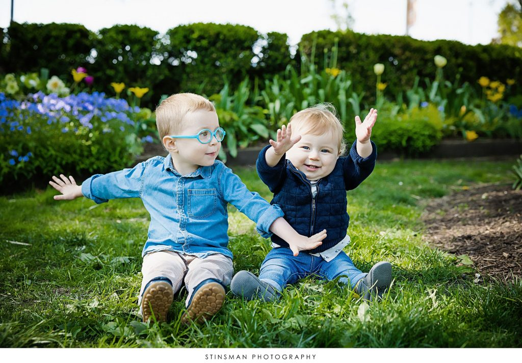 Brothers playing at their outdoor family photoshoot