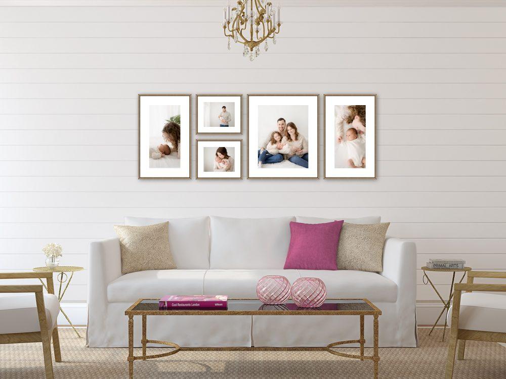 Newborn family wall art and photos