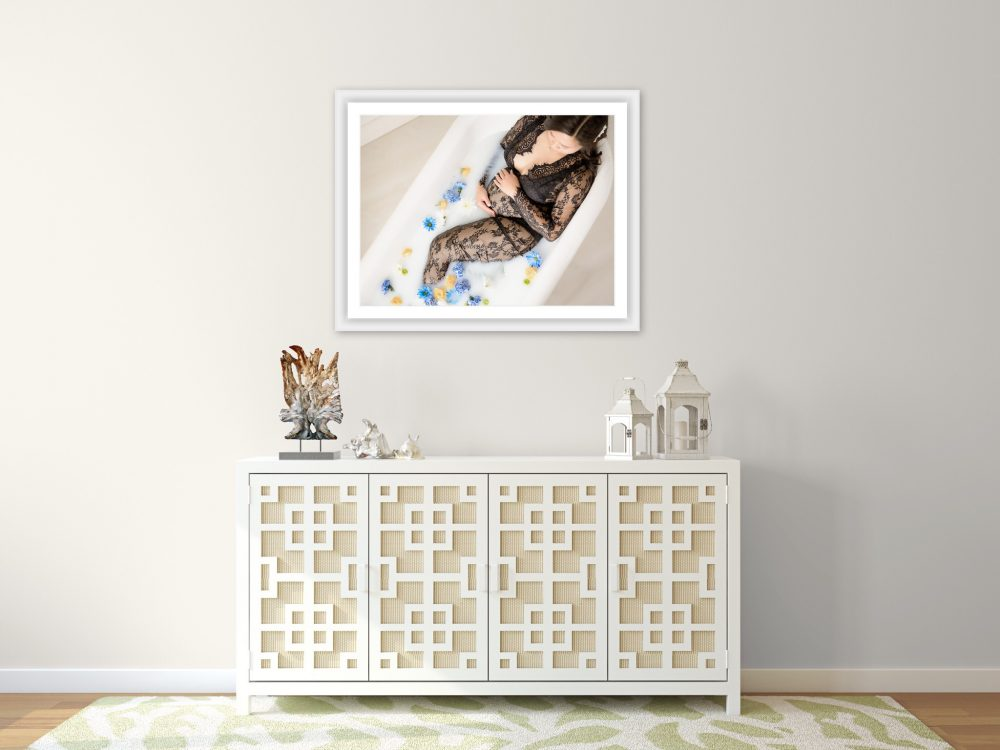 milk bath maternity printed frame in south jersey studio