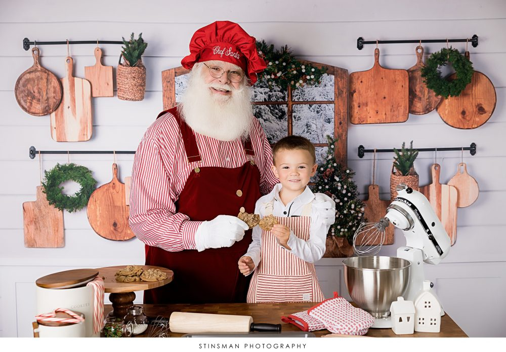 santa and little boy cooking