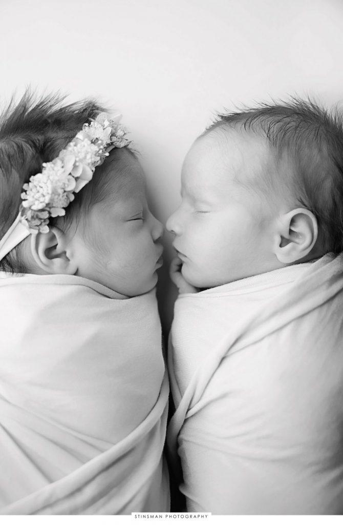 newborn twins posed at their newborn photoshoot